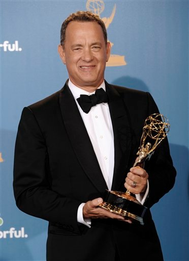 Producer Tom Hanks  poses in the press room with the award for outstanding miniseries for &quotThe Pacific&quot during the 62nd Primetime Emmy Awards Sunday, Aug. 29, 2010, in Los Angeles. (AP Photo/Chris Pizzello)