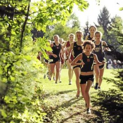 Michelle Haluska of Brewer leads the pack of high school girls as they leave the Hampden Academy fields and enter the wooded portion of the cross county course on Friday. Kylee Parker of Hampden won the girls event.
