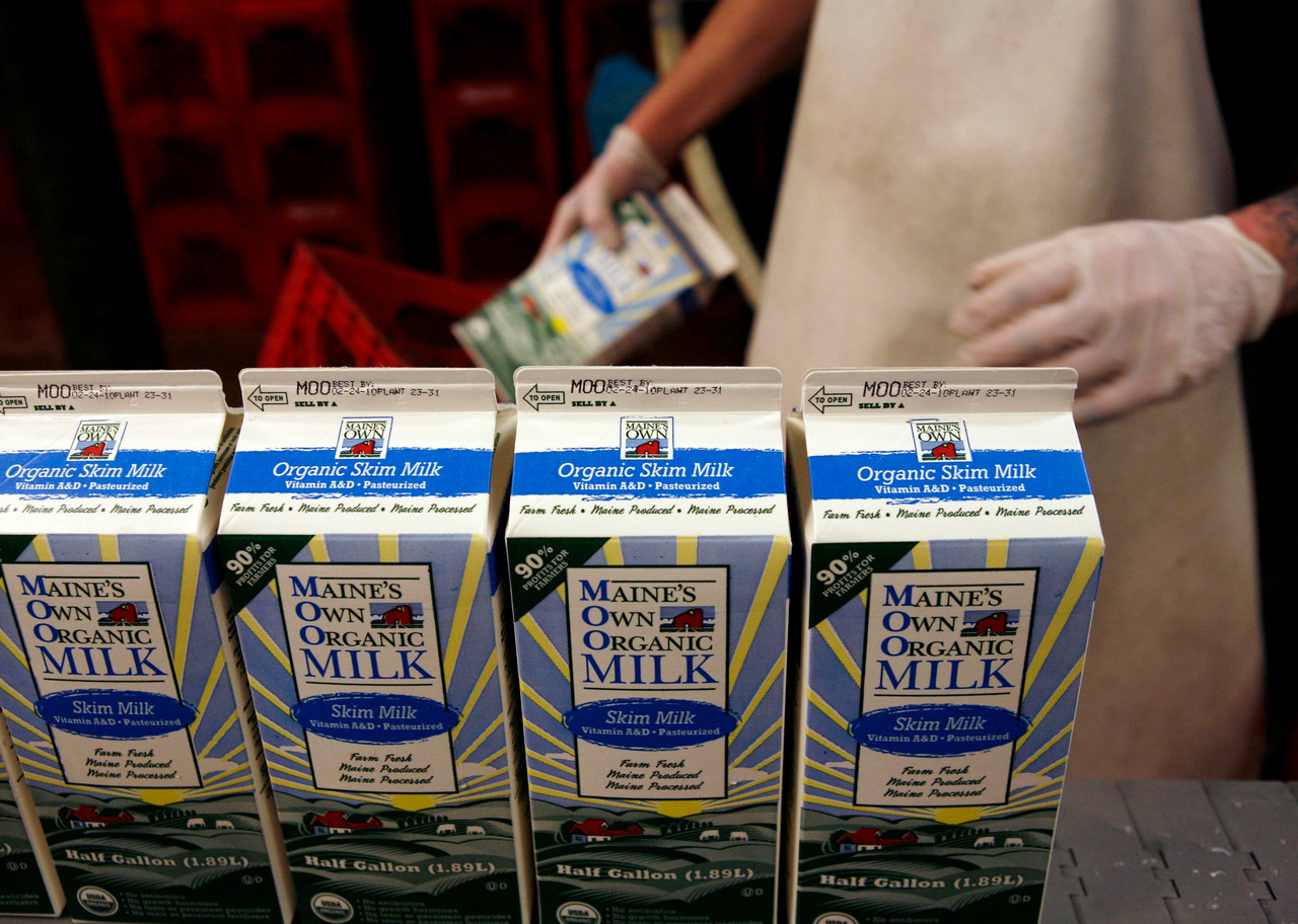 MOOMilk is processed at a dairy farm in Westbrook. Farmers own 50 percent of MOOMilk, launched last year. It's milk cartons started appearing on area grocery shelves in January..  (AP Photo/Pat Wellenbach)