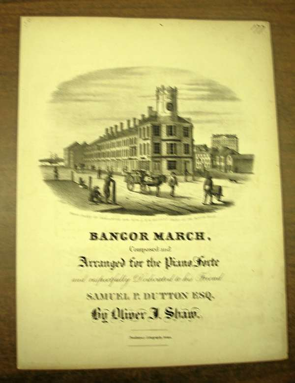 The cover of the Bangor March sheet music shows a scene of historic Bangor including the Mercantile National Bank building in the foreground and the Bangor House hotel in the background. Bangor Daily News Photo by Rich Hewitt