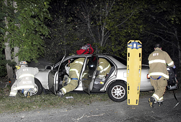 Rockland Fire and EMS responded to a car into a tree accident at 90 Broadway in Rockland at 9:15 p.m. Thursday, Sept. 2, 2010. (Photo courtesy of Rockland Fire Department/Alan Athearn)