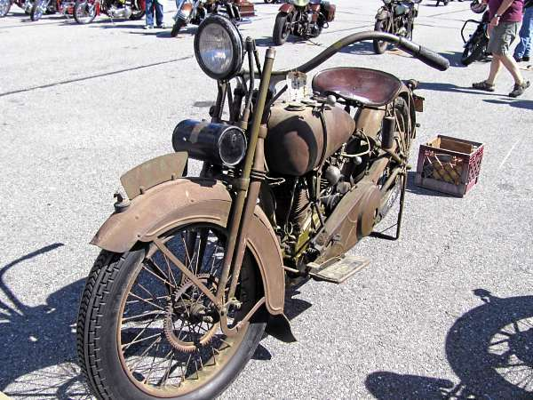 This 1925 Harley Davidson JD might appear to be in rough shape, but mostbicycle enthusiasts wouldn't dream of restoring because of its value as astory-teller, said Owls Head Transportation Museum director CharlesChiarchiaro. The bike was on display Sunday, Sept. 5, 2010 at the museum'sVintage Motorcycle Meet & Antique Aeroplane Show. (Bangor Daily News Photo by Chris Cousins)