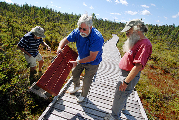 Orono Bog Boardwalk director Jim Bird, right, conferred with volunteer Jerry Ledwith, center, of Bangor and boardwalk maintenance supervisor Phil Locke, left, of Bangor as they retrieved a broken bench that was removed and thrown from its footing near the north end of the  boardwalk. They learned Monday morning that various sections the boardwalk were vandalized sometime after it closed for the evening Sunday.  BANGOR DAILY NEWS PHOTO BY JOHN CLARKE RUSS