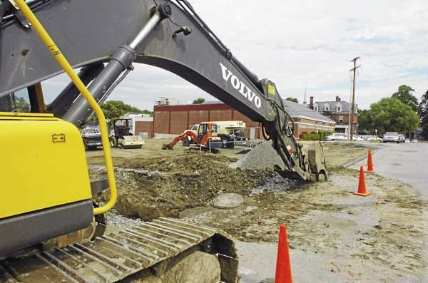 An excavator sits on Second Street next to the YWCA on Tuesday, September 7, 2010. (Bangor Daily News/Kevin Bennett)