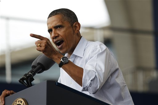 President Barack Obama speaks on the economy at the Milwaukee Laborfest in Milwaukee, Monday, Sept. 6, 2010. (AP Photo/Pablo Martinez Monsivais)
