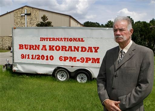 Rev. Terry Jones at the Dove World Outreach Center in Gainesville, Fla., Monday, Aug. 30, 2010. Jones plans to burn copies of the Quran on church grounds to mark the Sept. 11, 2001 terrorist attacks on the United States that provoked the Afghan war.   (AP Photo/John Raoux)