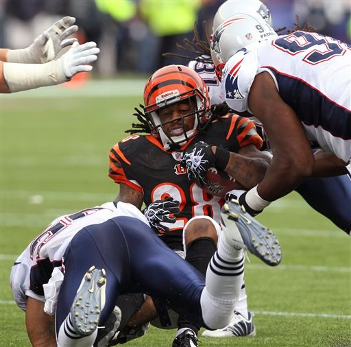 Cincinnati Bengals running back Bernard Scott (28) is stopped by a group of New England Patriots defenders during the second half of an NFL football game in Foxborough, Mass., Sunday, Sept. 12, 2010. The Bengals rushed for a total of 87 yards as the Patriots won 38-24. (AP Photo/Stephan Savoia)