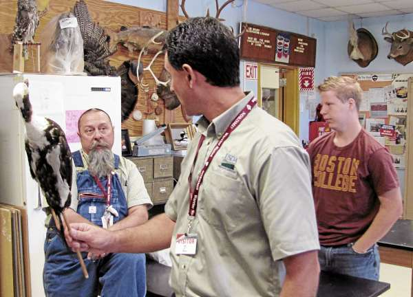 W/ Cousins' story &quotusdatalk&quot.  Adam Vashon, a biologist with the USDA's Wildlife Services Program, center, inspects an example of a long-tail duck Wednesday, Sept. 15, 2010 at Nokomis Regional High School in Newport. Discussing the specimen with Vashon is Nokomis science teacher Howard Whitten, who teaches a course in taxidermy, and junior Josh DeNicola. (Bangor Daily News/Christopher Cousins)