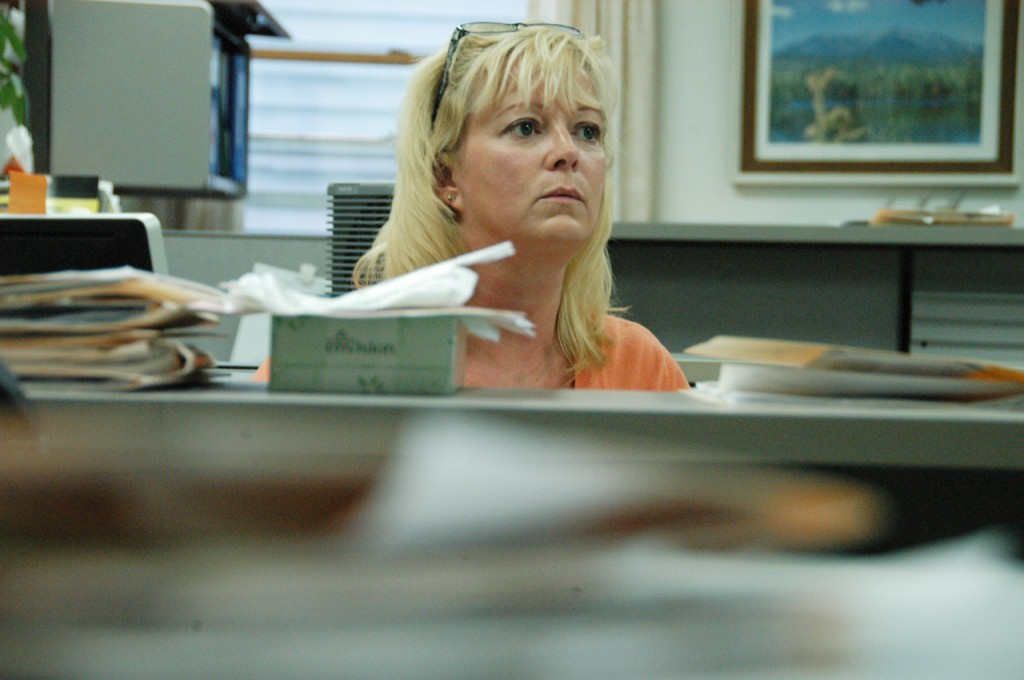 Files like the one in the foreground are among 25 years worth of records that Lincoln District Court clerk Rebecca Hanscom and other clerks managed to save when the courthouse building was flooded by a malfunctioning toilet earlier this month. BANGOR DAILY NEWS PHOTO BY NICK SAMBIDES JR.