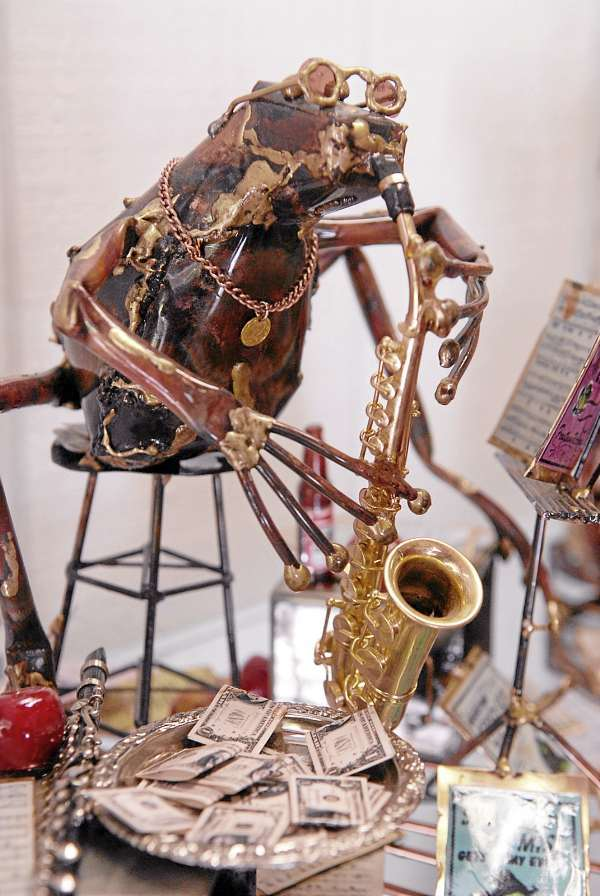 This saxophone playing frog is one of many whimsical metal sculptures Ernie Abdelnour has fabricated in his Town Hill studio. Photographed Wednesday morning, September 15, 2010.  (Bangor Daily News/John Clarke Russ)
