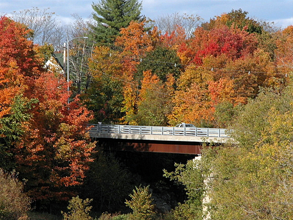 FALLING FOR FOLIAGE   A car traveling across the Highland Avenue bridge in Houlton is shrouded by fall foliage on Saturday afternoon. (BANGOR DAILY NEWS PHOTO BY JEN LYNDS)