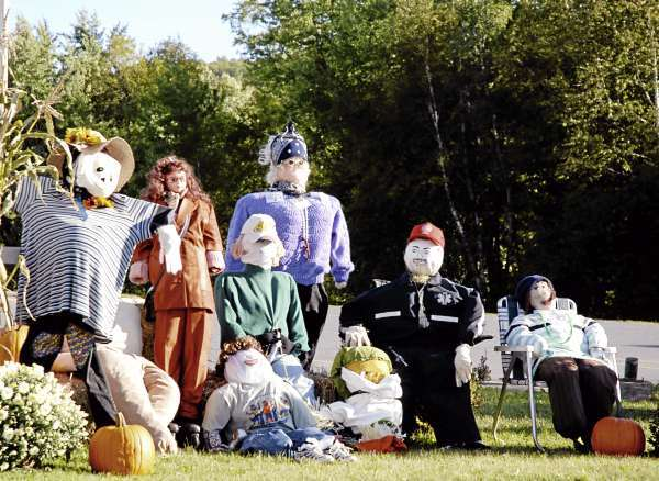 Scarecrows lined the streets and stood guard outside of local businesses and homes this past weekend during the annual Fort Kent Scarecrow Festival held in conjunction with the University of Maine at Fort Kent Homecoming Weekend. (Bangor Daily News/Julia Bayly)