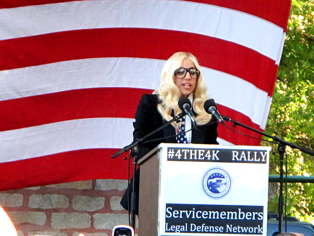 Lady Gaga spoke at a rally in Portland, Monday in support of the repeal of &quotdon't ask, don't tell.&quot