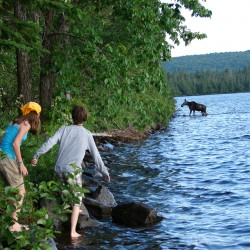 This photo of two children peeking at a moose on the shore of Round Pond in Allagash made Tracy Whitten of North Waterboro the overall winner of the Aroostook County Tourism summer photo contest. Other winners were Lisa Rubin of Portage in the scenic views category, Jennifer Clavette of South Berwick for outdoor recreation, Gene Cyr of Washburn for festivals and events and Ruth St. Peter of Cross Lake for cities and towns. All winning entries can be seen on the website at www.visitaroostook.com. For more information, contact Leslie Jackson, tourism coordinator, at 888-216-2463 or ljackson@nmdc.org.  (PHOTO BY TRACY WHITTEN COURTESY AROOSTOOK COUNTY TOURISM)