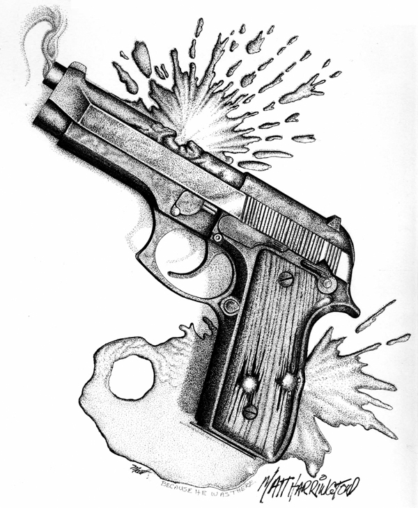 This artwork by Matt Harrington relates to the recent Washington, D.C., school shooting and gun violence. TOPICS: VIOLENCE ... SCHOOL SHOOTING ... GUNS