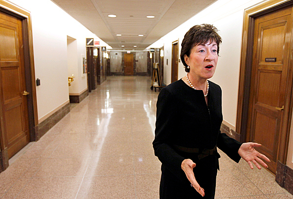 Sen. Susan Collins, R-Maine, talks about the military &quotDon't Ask Don't Tell&quot policy, on Capitol Hill in Washington Tuesday, Sept. 21, 2010. AP PHOTO BY ALEX BRANDON