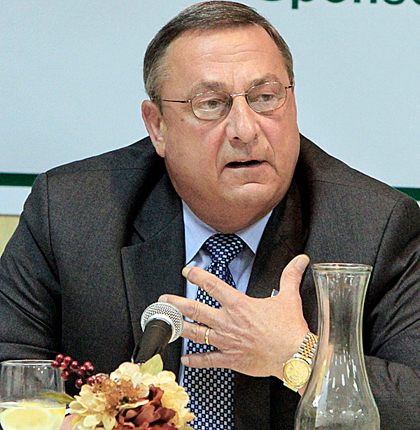 Gov. Paul LePage speaks in Waterville in September 2010.