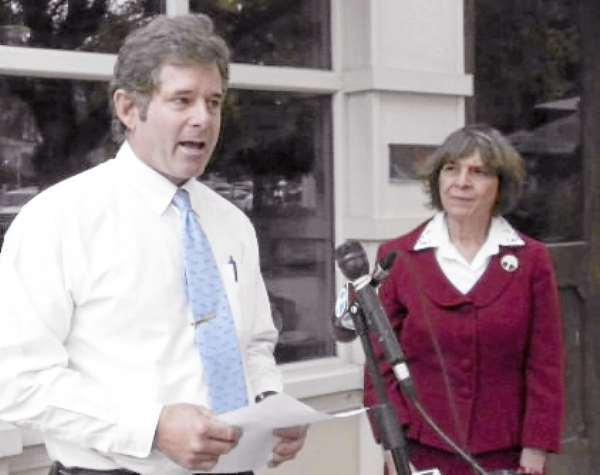 Rick Schweikert, owner of the Bangor Grasshopper Shop, and Barbara McDade, president of the League of Women Voters of Maine, spoke in support of the DISCLOSE Act during a Wednesday press conference in front of the downtown store. Both called on Sens. Olympic Snowe and Susan Collins and other state senators to support the act, which requires identificaiton of those paying for political ads. (Bangor Daily News/Nok-Noi Ricker)