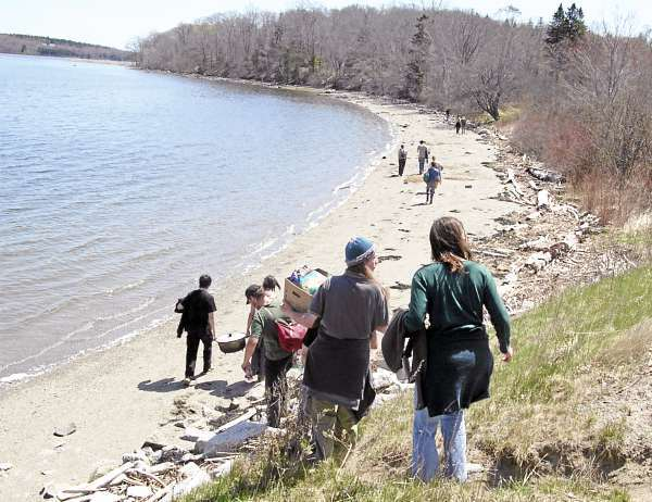 About 40 who attended the Sunday portion of an Earth First! event on Sears Island walk toward a beach on the easterly shore of the island. (BANGOR DAILY NEWS PHOTO BY TOM GROENING)