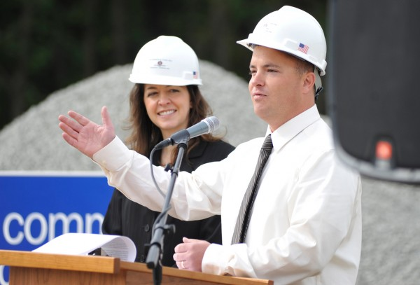 Bangor Y CEO Mike Seile (at lectern) thanked community supporters during  the ground breaking ceremony for the new parking lot at the Bangor Y's Second Street Location Thursday morning, September 23, 2010. Standing nearby was Bangor Y Board President Racquel Tibbetts. (Bangor Daily News/John Clarke Russ)