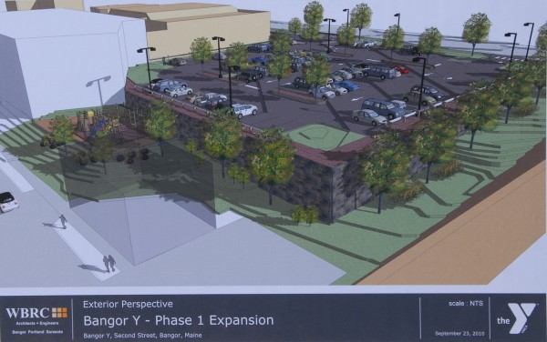 This rendering by WBRC Architects-Engineer shows the new parking lot at the Bangor Y's Second Street location Thursday morning, September 23, 2010. The lot will have 91 parking slots and is slated for completion in November 2010. (renderinf: courtesy of WBRC Architects-Engineers)