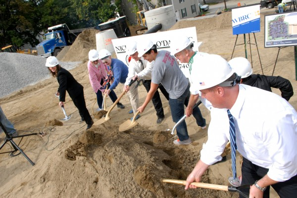 Bangor Y staff, board members and other members Y community broke ground for the new parking lot at the Bangor Y's Second Street Location Thursday morning, September 23, 2010. (Bangor Daily News/John Clarke Russ)