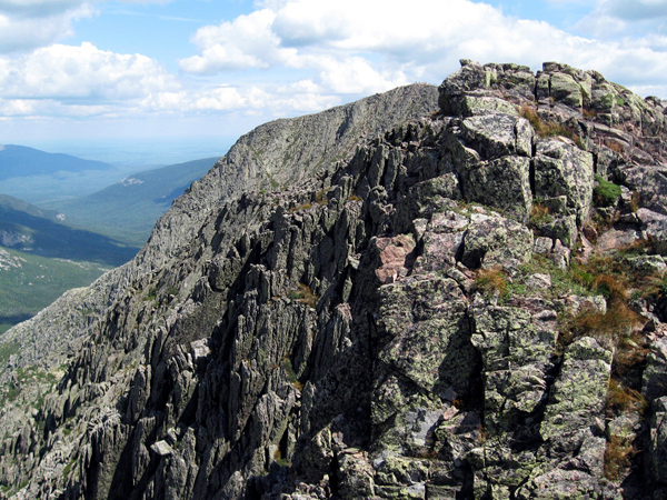 Brad Viles was reminded of  a mid-summer hike of Katahdin's Knife Edge, seen here, while on a ten-mile hike on the Loop Trail Traveler Loop trail on Labor Day. (Brad Viles photo)