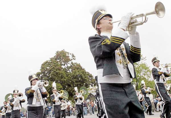 Old Town High School band members perform in the Riverfest parade on Saturday morning, Sept. 25, 2010. (Bangor Daily News/Bridget Brown)
