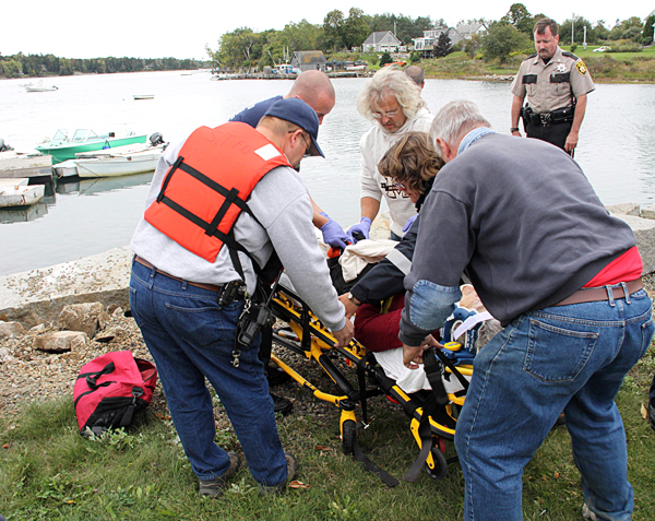 The Rockland Fire Department responded as mutual aid to South Thomaston for a car that was in the water at the South Thomaston public landing Sunday, Sept. 26, 2010. (Photo courtesy of Rockland Fire Department)