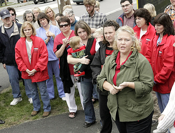 Judy Brown, president of the local nurses union Unit 1, speaks to media representatives on behalf of nurses and supporters at a press conference Monday, Sept. 27, 2010, in Bangor.(Bangor Daily News/ Michael C. York) Bangor Daily News/Michael C. York