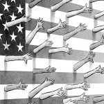 This artwork by M. Ryder relates to the Congressional debate over immigration and the recent marches against proposed legislation making undocumented aliens, and those who assist them, felons.