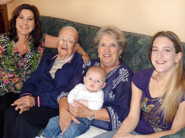 100-year-old T. Alton Stewart, a former Brewer resident, returned to the area on Saturday in order to get a five generations photo with his daughter Muriel Ouellette, 66, of Pittsfield, granddaughter Darlene Veillette, 46, of Orrington, great granddaughter Leah Cameron, 25, and great-great grandson, Tanner McClure, 4 months, who both live in Bangor. (Photo courtesy of family)