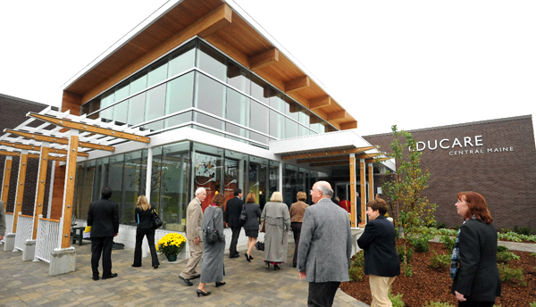 People walk into the new Educare Center in Waterville Monday following the ribbon cutting ceremony. (Bangor Daily News/Gabor Degre)