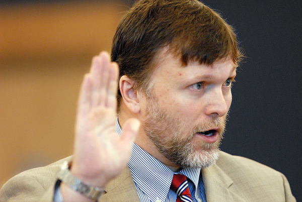 (BANGOR DAILY NEWS PHOTO BY JOHN CLARKE RUSS)CAPTIONBangor attorney Richard Hartley reminds the jury of the oath they took as he delivers opening arguments defending Colin Koehler Monday morning at Koehler's  jury trial at Penobscot Judicial Center. Koehler is accused of fatally stabbing 19-year-old Holly Boutilier of Old Town on Bangor's riverfront in August 2009. (Bangor Daily News/John Clarke Russ)
