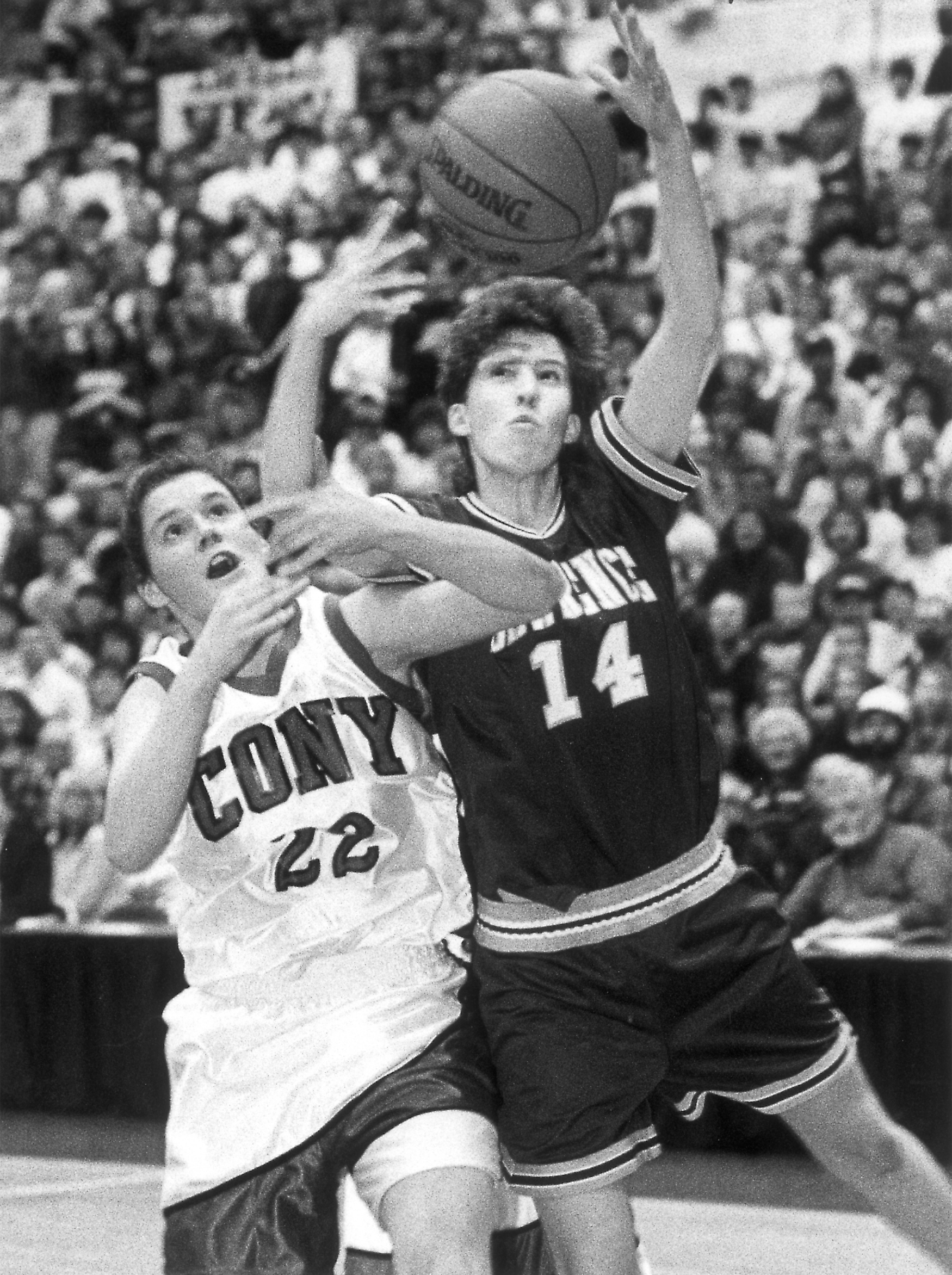 Blodgett competes as a Lawrence High School player against Cony's Kelly Duff in 1994. (BDN file photo)