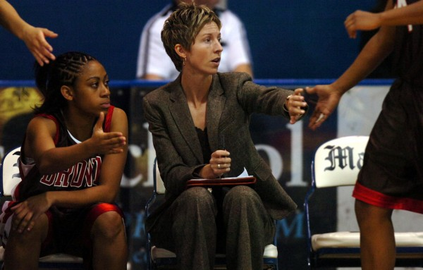 Cindy Blodgett as a coach at Brown in 2006. (BDN file photo)