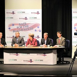 The five candidates for governor gathered Tuesday for a forum at Presque Isle Middle School. Above, Republican Paul LePage makes a point.