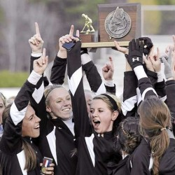 Members of the Skowhegan field hockey team show off their State Championship trophy after beating Cheverus in the Class A final Saturday, Oct. 30, 2010. Bangor Daily News/Michael C. York