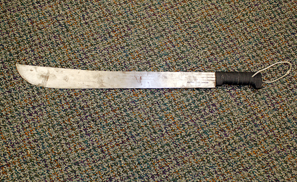 The two-foot-long machete that a man wielded as he tried to steal drugs this morning from the Main Street Rite Aid, according to police.  At about 10:26 a.m., Joshua Powell, 23, of Rockland walked into the Rite Aid with a machete, jumped over the pharmacy counter, showed the pharmacist the machete and demanded drugs, according to Deputy Chief of Police Wally Tower. (Bangor Daily News/Heather Steeves)