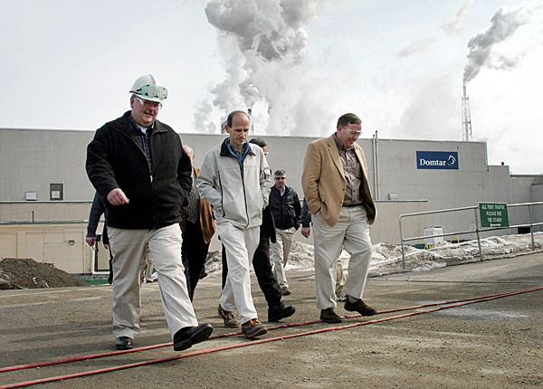 Gov. John Baldacci concludes a tour of Domtar's pulp mill in Baileyville on Monday, along with mill manager, Tim Lowe (left) and Washington County Sen. Kevin Raye of Perry. Baldacci visited the mill, which is slated to begin idling in May, affecting more than 300 employees at the mill along with about 70 in Eastport, where the pulp is shipped from.  (BANGOR DAILY NEWS PHOTO BY BRIDGET BROWN)