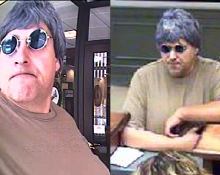 FBI-Boston has released these photos of the &quotBurly&quot Bandit, believed responsible for at least ten robberies in four states. This photo:  Hampstead, N.H., June 1, 2010. (FBI photos)