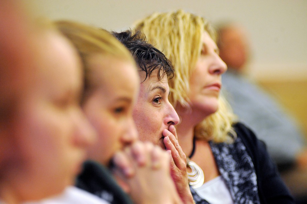 Kathy Ingraham, second from right, of Old Town and her daughters Leeanna Boutlier of Old Town, far left and Sarah Boutliier of Old Town react after the jury found Colin Koehler guilty at Penobscot Judicial Center late Friday afternoon, Oct. 1, 2010. On the right is Susie Miller, a victim advocate with the Maine Attorney General's office.  BANGOR DAILY NEWS PHOTO BY JOHN CLARKE RUSS
