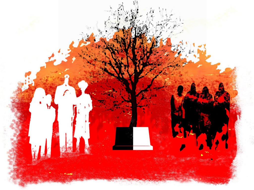 300 dpi Rick Nease color illustration of families on  either side of dark leafless tree and marker, half black, half white. Detroit Free Press 2007  funeral divide illustration ricky holland tragedy remorse death child missing children disappearance crime shame sadness adoption murder, adoption, FEA, krtfamily family, krtfeatures features, krtsocialissue social issue, parent 02000000, 14000000, CLJ, krtcrime crime, krtnational national, krtsocial social issue, SOI, krtdiversity diversity, youth, 14006001, 14006002, 02001001, 02008000, CRI, homicide murder, krtjustice justice, trial, 2007, krt2007, krt, mctillustration, de contributor coddington nease kresnak mct mct2007, de contributed
