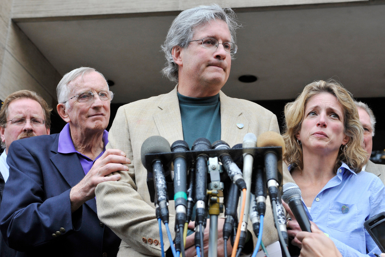 Dr. William Petit Jr., center, speaks with his father, William Petit Sr., left, and sister Johanna Petit Chapman outside Superior Court in New Haven, Conn., on Tuesday, Oct. 5, 2010.  Steven Hayes was convicted of capital felony, murder, sexual assault and other counts by a jury that heard eight days of gruesome testimony about the July 2007 attacks on Jennifer Hawke-Petit and her daughters, Hayley and Michaela. (AP Photo/Jessica Hill)