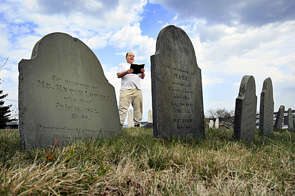 Walter Skold of Freeport, Maine, reads a Henry Wadsworth Longfellow poem while posing in Eastern Cemetery, Tuesday, April 20, 2010, in Portland, Maine. Skold, the founder of the Dead Poets Society of America, will be leading a poetry reading at the cemetery this Friday to kick off his upcoming 22-state tour to make Oct. 7th &quotDead Poets Remembrance Day.&quot  (AP Photo/Robert F. Bukaty)