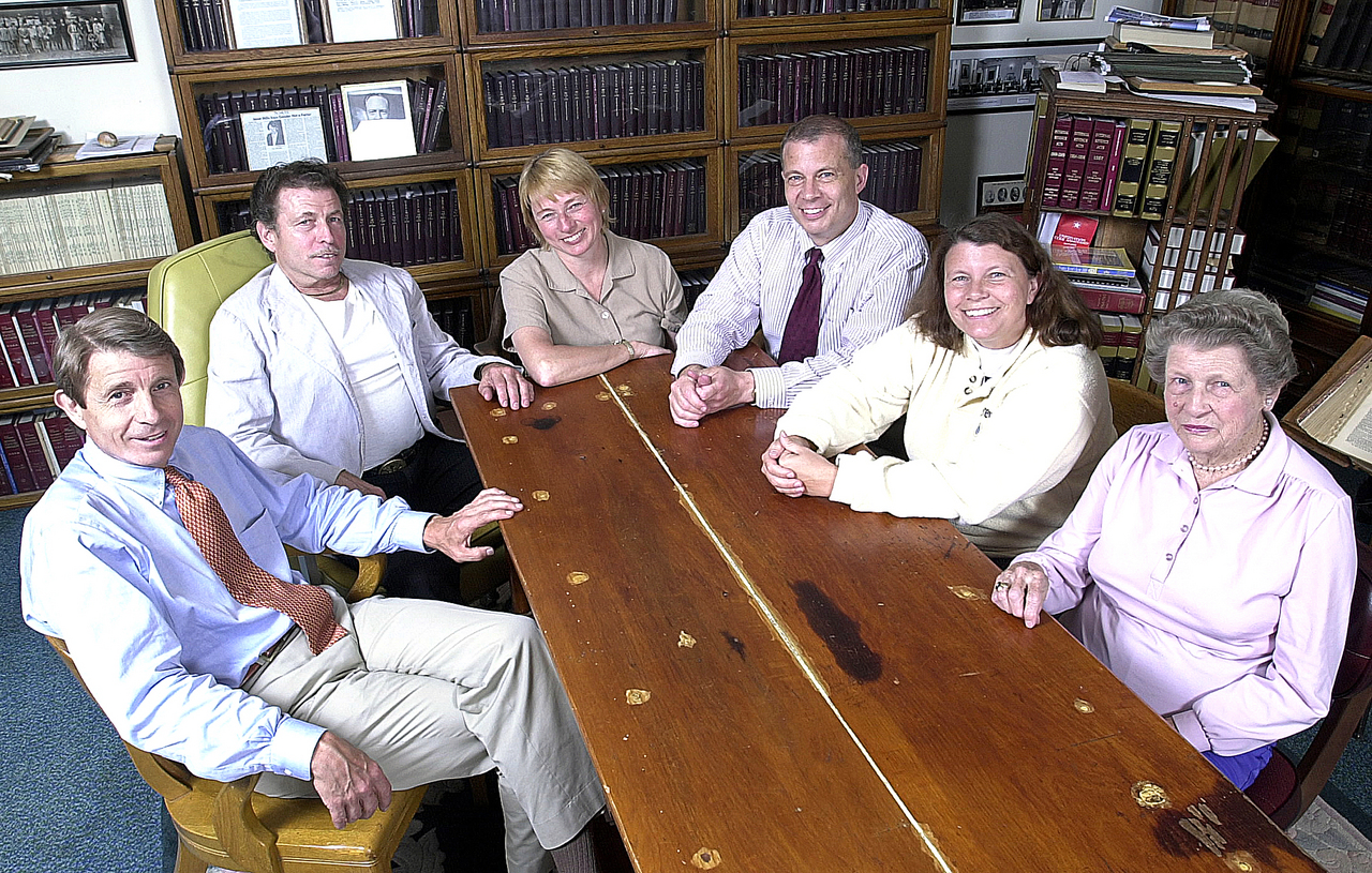 The Mills family gathered recently in the Mill & Mills law office in Farmington. They are: Peter (from left), David, Janet, Paul, Dora and Kay. (NEWS Photo by Bob DeLong)