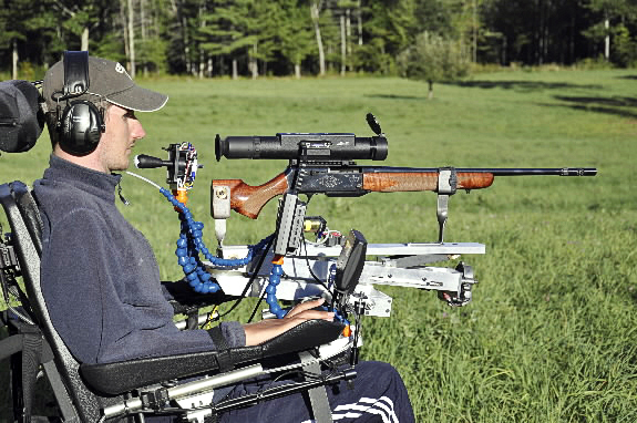Palermo resident Jeff Malloy, who fell from a ladder six years ago and is paralyzed from the neck down, has created an adaptive shooting system with an engineer friend that allows him to shoot a rifle. He went deer hunting last year with this .270-caliber Browning semiautomatic loader. Malloy uses his chin to aim the rifle and blows into a straw to pull the trigger.(Photo courtesy of Jeff Malloy) WITH RICKER STORY.