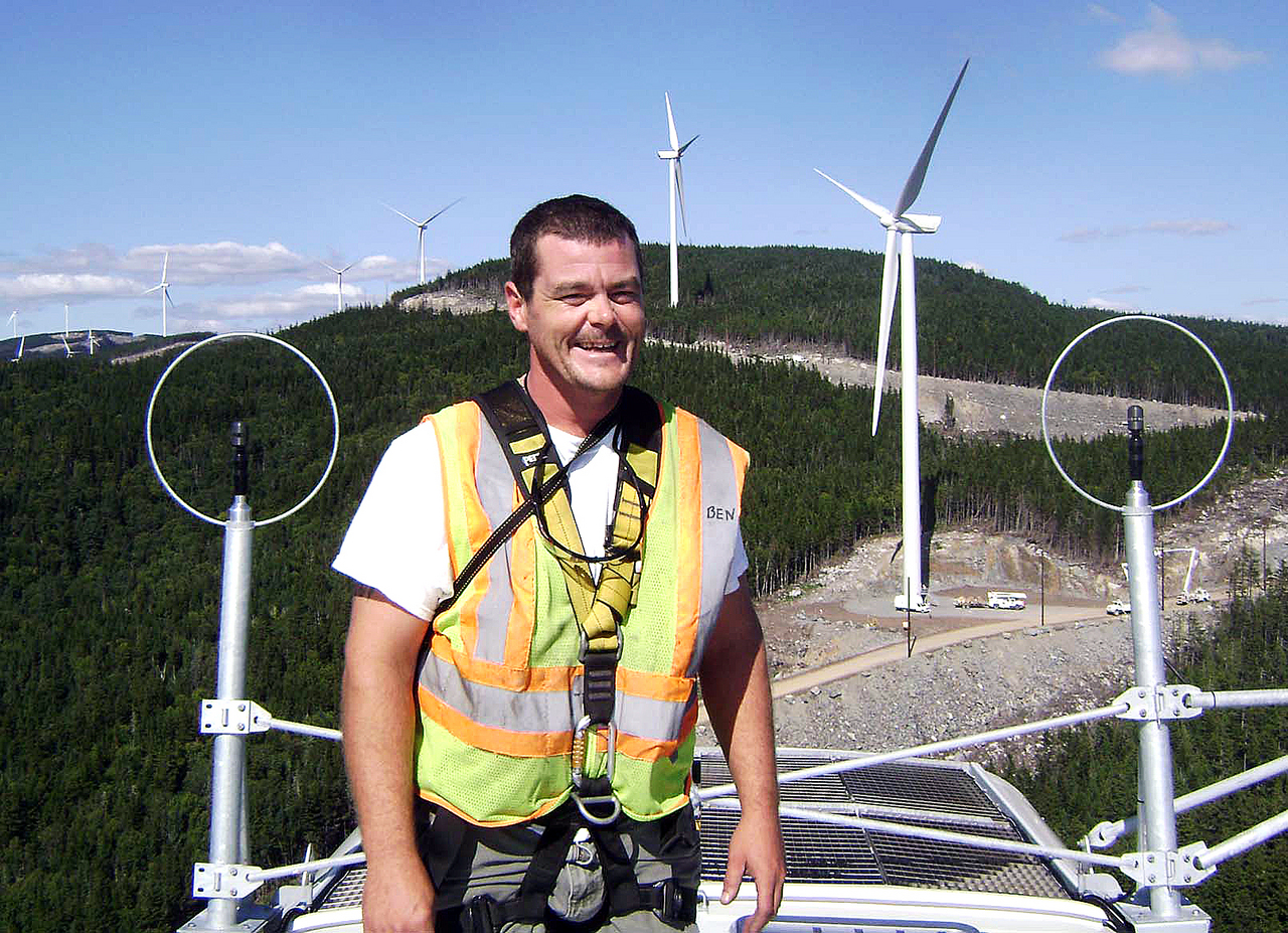 w/story slugged THEINTERNS, LYNDS.  DUTILINTERNS CUT LINE: Ben Dutil, a student in the wind power technology program at Northern Maine Community College, was one of 11 students in the program who  spent the summer working in paid internships on wind development projects for  four different companies. Dutil, along with six other NMCC wind power technology students, worked for Larkin Enterprises on the Kibby Mountain wind power project  in western Maine. He is pictured here at the work site. (PHOTO COURTESY OF BEN DUTIL)