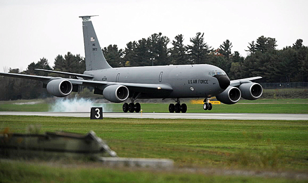 A KC-135 R air-refueling tanker from the Maine Air National Guard makes a landing at Bangor International Airport during a training flight on Wednesday, October 6, 2010. (Bangor Daily News/Kevin Bennett)