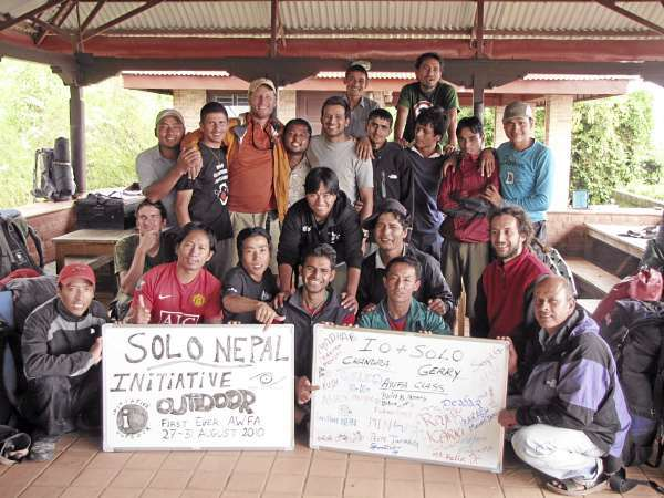 Gerry Brache of Orland [orange jacket in the back] and Chandra Ale,  a Nepali guide, with the graduates of the first Wilderness First Aid certification course offered in Nepal earlier this year. (Courtesy of Garry Brache)